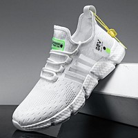 Running shoes men's lightweight casual mesh breathable fluorescent green comfortable jogging summer large size white sneakers
