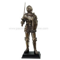 Medieval French Knight with Fleur-de-Lis Shield Statue