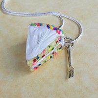 funfetti cake and a fork polymer clay necklace