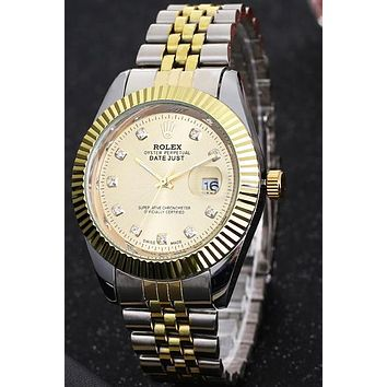 Rolex men and women trendy fashion watch F-PS-XSDZBSH Gold case + gold dial