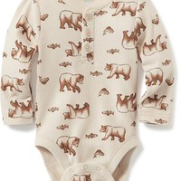 Waffle-Knit Henley Bodysuit for Baby | Old Navy