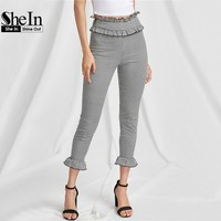 SheIn High Waist Pants Frill Trim Zip Side Skinny Gingham Pants Black and White Zipper Fly Summer Pants for Women