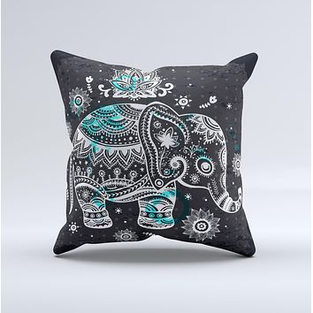 Aztec Elephant Blue Accented Modern Illustration  Ink-Fuzed Decorative Throw Pillow
