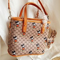 GUCCI x Disney Fashion Women Shopping Bag Leather Handbag Tote Shoulder Bag Crossbody Satchel
