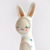 Little Vampire Figure of Ceramic, with his Bunny Sleepwear with Blue Polka Dots. Special Halloween. Made to Order