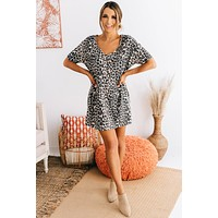 Looking For Attention Leopard Waffle Knit Dress (Taupe)