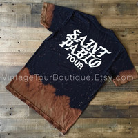 Saint Pablo Tour Bleached Tee Shirt Kanye West Distressed Yeezy Yeezus Tour Tee Merch TLOP
