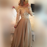 New Women Sexy Gold Elegant Party Maxi Dress Long Sleeve O-neck Floor-length Patchwork Hollow Out Long Dress