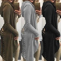 New Gothic Women Ladies Cut Out Cardigan Long Sleeve Ripped Back Hooded Hoodie Coat Sweater