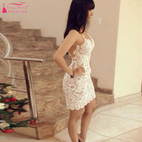 White Short Straight Cocktail Dresses Spaghetti strapless Lace Homecoming Dresses important Event Guest Dresses Z963