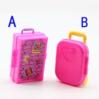 Plastic Pink 3D Cute Heart Travel Suitcase Luggage Case Trunk For Barbie Doll House Gift Toys Dollhouse Furniture Box toy