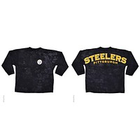 Pittsburgh Steelers Logo Tie Dye Sweeper Long Sleeve Oversized Top Shirt Jersey
