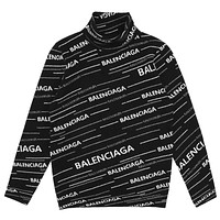 Balenciaga new full-print high-necked knit full-print jacquard letter sweater black
