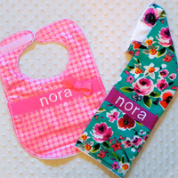 Personalized Burp Cloth and Bib Set with Matching Bow - Baby Girl Teal and Pink Flowers and Iridescent Polka Dots