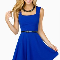 Textured Knit Flare Belted Dress