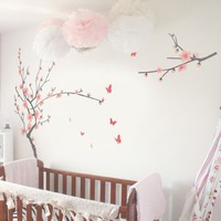 TIKTAK ART Removable Cherry Blossom Japanese Sakura Tree Wall Decal - BIG SIZE - Easy Peel And Stick DIY Decal