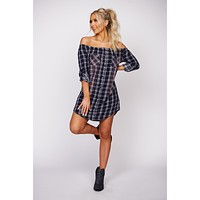 Tell Me It's Okay Plaid Pocket Dress (Blue/Multi)