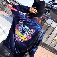 """Kenzo"" Women Fashion Embroidery Tiger Head Letter Pattern Long Sleeve Zip Cardigan Jacket Coat"