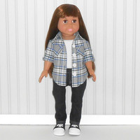 18 inch Doll Clothes Black Denim Jeans with Gray Plaid Button Up Shirt and White Tank Top 3 piece Outfit