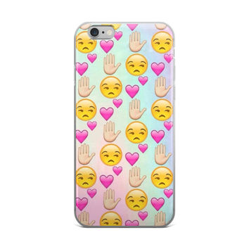 Depressed Sad Face Pink Heart & Talk To The Hand Emoji Collage Teen Cute Girly Girls Tie Dye iPhone 4 4s 5 5s 5C 6 6s 6 Plus 6s Plus 7 & 7 Plus Case