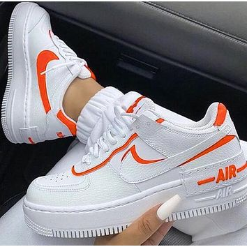Samplefine2 Nike Air Force 1 Shadow Fashion Women Casual Sport Running Shoes Sneakers White&Orange