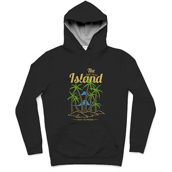 The Sunset Beach Island Trendy All-Over Print Solid Nero Hoodie