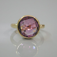 February Birthstone Ring - Purple Amethyst Ring - 925 Sterling Silver 18K Gold Vermeil