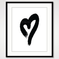 black and white art, heart painting poster master bedroom wall decor, inspirational romantic couple, kid room wall art, simple rustic print