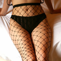 Fishnet Lady Lace Top Mesh High Thigh Stockings Tights Pantyhose Long Socks Sexy (Color: Black)
