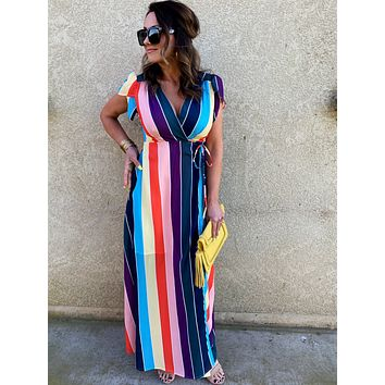Somewhere Over The Rainbow Tulip Sleeve Striped Wrap Maxi