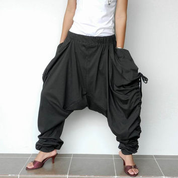 New Design Extra Long Ninja Harem Pants, Charcoal Cotton Jersey, Unisex Design