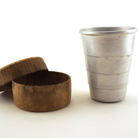 Vintage Collectible Collapsible Metal Aluminum shot glass, Cup, Folding Shot Glass. Mid century