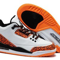 New Nike Air Jordan 3 Retro Kids Shoes White Black Orange