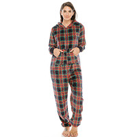 Women's pajama set casual homewear sleepwear Flannel Jumpsuit Pj W/ Hoodie