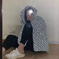 Dior new autumn and winter new letter full print luminous hooded cotton jacket loose and versatile cotton jacket