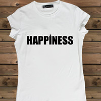 Women's T shirt Happiness on a Bike Ladies Tshirt,Screen Printing Tshirt,Women's Tshirt,White Tshirt,Size S, M, L