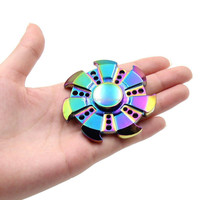 Rainbow Fidget Spinner Fire Wheel Hand Spinner Seven Angle Decompression Adults Children Educational Gifts Rainbow EDC Fidget Gyro Toys