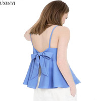 Summer Tops For Women Tank Plus Size Clothes Woman Crop Top Sexy Backless Bow Cropped Feminino 2017 Camisetas Mujer Camisoles