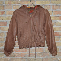 Brown Leather Bomber Jacket - S