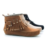 Kalisa63 By Wild Diva, Round Toe Studded Ankle Wrap Fringe Tribal Moccasin Flat Booties
