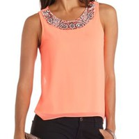 Jeweled Neon Tank Top by Charlotte Russe - Neon Coral