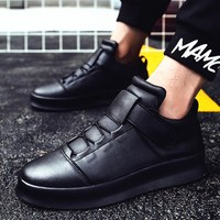 New Men's Microfiber Breathable High Top Sneakers Youth Solid Black Red White Sport Running Shoes Anti-slip Flats Shoes for Male