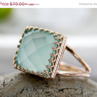 Mothers Day 25% Off - Aqua Chalcedony Ring,14k rose gold filled ring,rose gold ring,pink gold ring,feminine ring,delicate ring