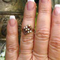 Antique Engagement Ring Orange Blossom Motif Pearl Ring 10K Gold Bypass Wedding Ring Vintage Bridal Jewelry June Birthstone Ring Size 6!