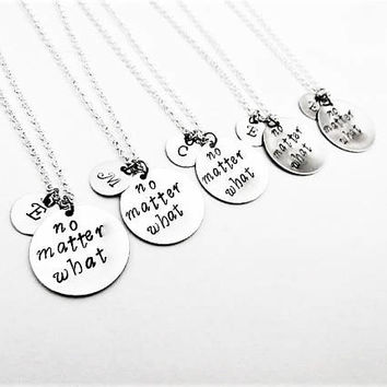 No matter what necklaces, best friends jewelry, bff necklace long distance, no matter where, personalized initial best friend set of five