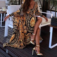Spring and Autumn Fashion Lady Sexy Deep V-neck Long Sleeve Split Dress Bohemian Printed Maxi Dress