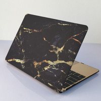 "Black Gold Marble MacBook Air 11"" 13"" Retina 13"" 15"" Pro 15"" 12""  Mac 12"" Case Cover Novo Rubberized Hard Shell Gift"