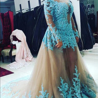 Long Sleeve Blue Lace Appliques Prom Dresses 2017 Floor Length Backless Mermaid Women Formal Party Dress with Removable Skirt