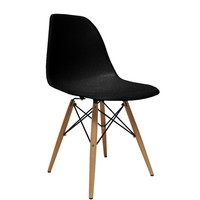 WoodLeg Dining Side Chair, Black
