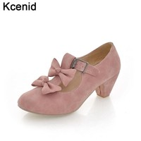 Kcenid Spring new arrival sweet bowtie cut-out T strap buckle faux leather candy color shoes woman thick heels pumps plus size43